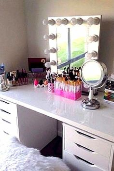 Beautiful makeup storage idea.