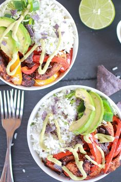 Fiesta Chicken Cilantro Lime Rice Fajita Bowl with Avocado Chipotle Crema