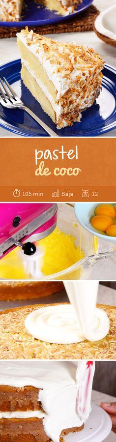 Dale un toque tropical a tus fiestas de #verano con este riquísimo pastel de coco decorado con coco tostado rallado.