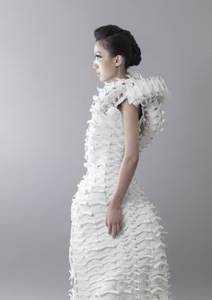 Wearable Art - white dress with sculptural silhouette & dimensional surface textures - 3D fashion; experimental fashion design // Jenny Hsu