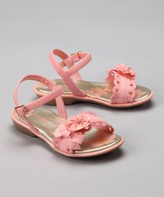 Take a look at this Pampili Light Pink Ribbon Rose Sandal  by Blow-Out on #zulily today!
