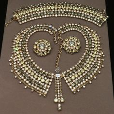 Hobe Parure Necklace Bracelet Earrings Exceptional Rhinestone Set Vintage
