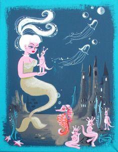 EL GATO GOMEZ PAINTING RETRO VINTAGE SEA MONKEY SEAHORSE PINUP MERMAID KITSCHY in Paintings | eBay