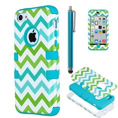 iPhone 5c case, iPhone 5C case Cute, ULAK Fashion Chevron Pattern Hybrid High Impact Combo Hard PC and Soft Silicone Case for iPhone 5C Heavy Duty Shockproof Chevron Pattern w/ Stylus Screen Protector(Green/Blue Wave+Light blue) ULAK http://www.amazon.com/dp/B00NU18AZI/ref=cm_sw_r_pi_dp_fdIzub12FWC7Q