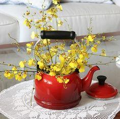 Flores amarelas na chaleira.