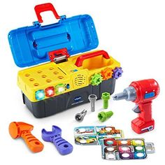 Fix and play with the Drill and Learn Toolbox by VTech; open this toddler-friendly toolbox and get ready for role-play fun with the included electronic fix-it tray, working toy drill, hammer, wrench, nails and screws Requires 2 AA batteries (batteries included for demo purposes only; new batteries recommended for regular use); intended for ages 2 to 5 years. Working drill spins the gears and drills screws into the electronic tray's holes...   toys4mykids.com