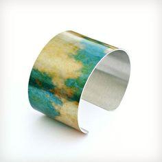 Grunge Clouds - Aluminum Cuff Bracelet