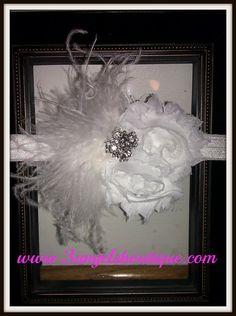 Elegant white shabby chiffon flower headband by 3angelsboutique, $13.00