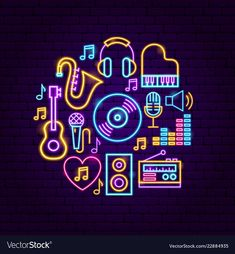 Music sound neon concept vector image on VectorStock Wallpaper Iphone Neon, Funny Phone Wallpaper, L Quotes, Apple Watch Wallpaper, Neon Logo, Animated Icons, Mini Canvas Art, Iphone Icon, Neon Rainbow