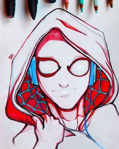 Spider-Gwen  Trying out some more cartoonish style, thoughts?  (As usual full youtube video in the bio)  #Gwen #Stacy #spiderman #spider #Marvel #drawing #art #sketch #girl #superhero #white #hoodie #pencil