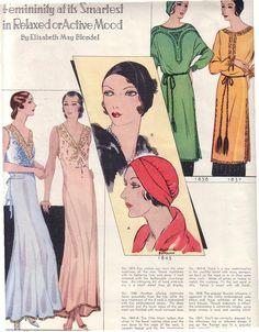 Vintage Mc Calls Fashion Ad 1930s Nitewear,Hats, Tunics, Dresses