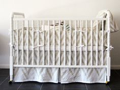 Linen crib skirt bumper and fitted sheet set  by Lovely Home Idea. New Zigzag Chevron Herringbone children bedding collection. Custom color. $310.00, via Etsy.