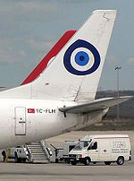 The Nazar Boncuğu (eveil eye) symbol on an airplane. #evileye