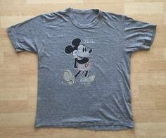 True Vintage Mickey Mouse Florida Thin Grey T-Shirt walt disney disneyworld