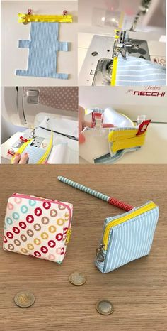 Ma petite Trousse de toilette [Tuto – BagsYou can find Coin purses and more on our website. Fabric Crafts, Sewing Crafts, Sewing Projects, Diy Projects, Wallet Sewing Pattern, Hand Sewing, Diy Bags Patterns, Sewing Patterns, Sewing Hacks
