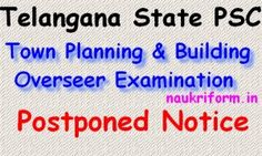 TSPSC Town Planning & Building Overseer Exam Postponed Dates notification