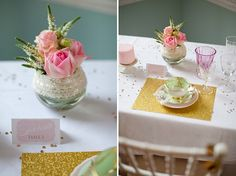 how to style a sparkle & blush wedding: Gold placemats-- scrapbooking paper?