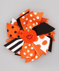 Orange Pumpkin Spikey Bow Clip by Zazzy Zebra on #zulily