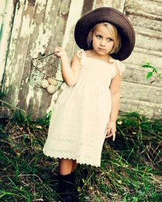 Rustic Flower Girl Dress... Cream Ivory or by SageNThymeDesigns, $50.00