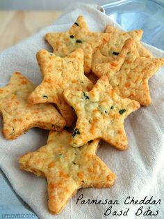 Looking for an addictive snack or appetizer? These Parmesan cheddar basil bites are a real crowd pleaser and so easy to make! I love that you can use cookie cutters to customize them for any even or party too. They are even fun to put in kids lunches for a treat. PARMESAN CHEDDAR BASIL …