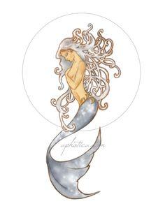 art nouveau mermaid original art print 8.x10. $10.00, via Etsy.