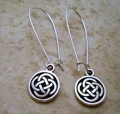 Celtic Pewter charm earrings with elongated by sanddollarwishes, $16.00