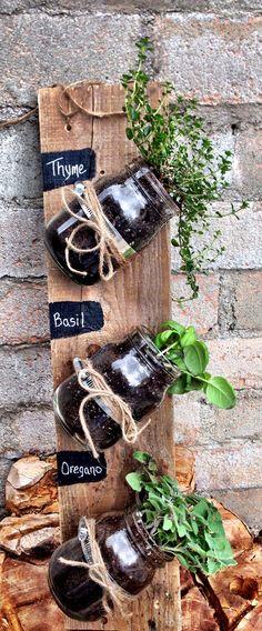 Hanging mason jar Herb garden