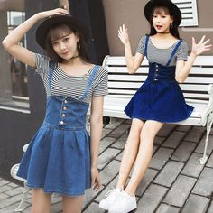 """Students striped T-shirt + cowboy braces skirt SE10099      Coupon code """"cutekawaii"""" for 10% off"""