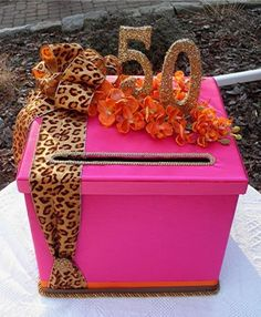 Colorful box for 50th birthday cards.  See more card ideas and 50th birthday party ideas at www.one-stop-party-ideas.com