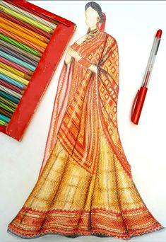 Fashion Drawing Dresses, Fashion Illustration Dresses, Fashion Illustrations, Fashion Design Sketchbook, Fashion Design Drawings, Fashion Sketches, Dress Sketches, Art Sketches, Indian Fashion