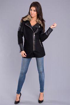 Attentif Kabát na podzim - černá Kabát na podzim zdobí kožešinových a kožených vložek http://www.cosmopolitus.com/attentif-jesienny-plaszcz-czarny-74131-p-91328.html #kabáty