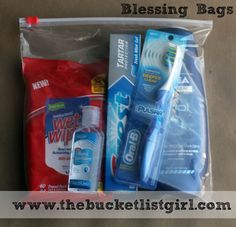 """""""Blessing Bags"""" to have in car...hand out to those in need. (my kids are so excited about making these)"""