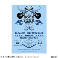 Shop Rock Star Baby Shower Invitation created by marlenedesigner. Baby Shower Decorations For Boys, Boy Baby Shower Themes, Baby Shower Fun, Baby Shower Parties, Fun Baby, Music Baby Showers, Rock Baby Showers, Star Baby Showers, Festa Rock Roll