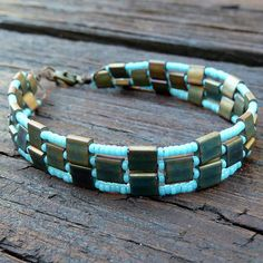 *P Patina Tile Bracelet - Turquoise Glass Seed Beads, Patina Glass Tiles, Geometric Pattern Bracelet SALE
