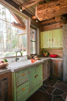 kreative Ideen für Küchenfenster rustikal design spüle schränke