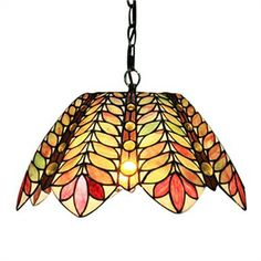 60W Tiffany Pendent Light in Leaves Pattern