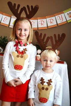 so sweet! reindeer christmas shirts - matching siblings