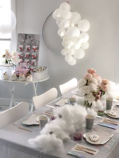Cloud themed birthday party by tassels_home_decor Birthday In Heaven, Birthday Party At Home, Girls Birthday Party Themes, 9th Birthday Parties, Baby Girl Birthday, Birthday Party Decorations, Cloud Baby Shower Theme, Baby Shower Balloons, Baby Shower Themes