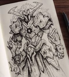 Fantasy Character Design, Character Concept, Character Art, Armor Concept, Weapon Concept Art, Art Sketches, Art Drawings, Knight Drawing, Monster Concept Art