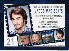 Deep Blue & Gray 21st Birthday Invitation