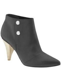 """Belle by Sigerson Morrison: Leather, pointed toe bootie with 3"""" stacked heel and silver tone press stud closure. Also available in brown. #Shoes #Bootie #Sigerson_Morrison"""