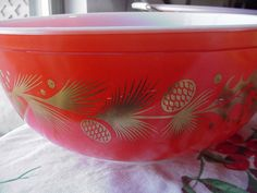 Pyrex Golden Leaf Christmas 404 Bowl Bright Red Largest Pyrex nesting bowl 1960 on Etsy, $28.00
