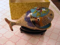 Vintage Cloisonne Whale Figurine on Stand  Mouth Open Smiling - w Original Box