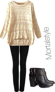 Clary Fray christmas party outfit #1 by tessgray featuring black high heel boots  White sweater / Topshop kohls jeans / H&M black high heel boots, $48