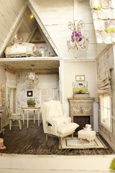 A dash of Whimsy for your home! Cottage and shabby chic styles mingle to create a truly romantic look! handmade and original! In a world full of mass production, hand made is the one true luxury. Shabby Chic Interiors, Shabby Chic Homes, Shabby Chic Style, Doll Furniture, Dollhouse Furniture, Shabby Chic Furniture, Dollhouse Interiors, Miniature Rooms, Miniature Houses