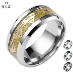Gold Color 8MM Stainless Steel Superman Rings For Male Femme Hot Sale Bijoux Cocktail Bague #Affiliate