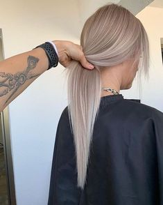 long straight ash blonde hair
