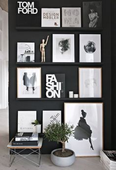 black wall & shelves