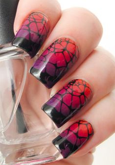 15+ Halloween Themed Spider Web Nail Art Designs, Ideas & Stickers 2015