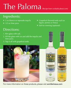 Contrary to popular belief, the margarita isn't the most popular drink in Mexico. Let me introduce you to the Paloma: sweet, sour, some may say even a bit bitter, but definitely delicious. If you want experience a truly refreshing gem straight from the regions of Mexico, then this is a must! Tequila lovers, don't forget to include this drink to your Cinco de Mayo festivities :)